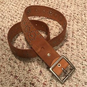 Buckle brown studded leather belt